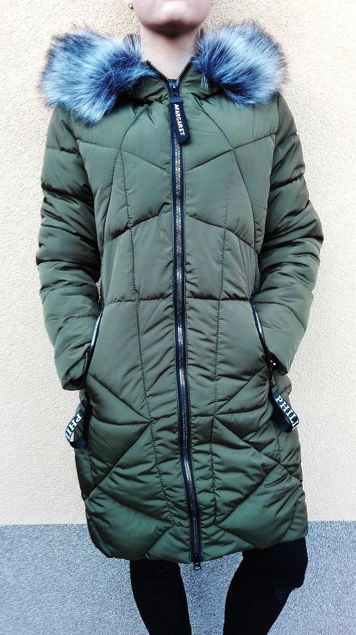 Dámská prošívaná khaki bunda / kabát (Velikost : M)