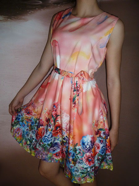 00* Květované letní oranžové šaty s páskem (Velikost : S)