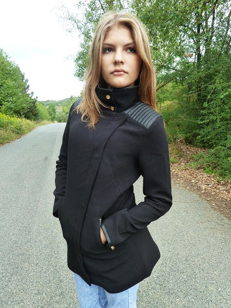 Dámský kabát jarní černý (Velikost : S)