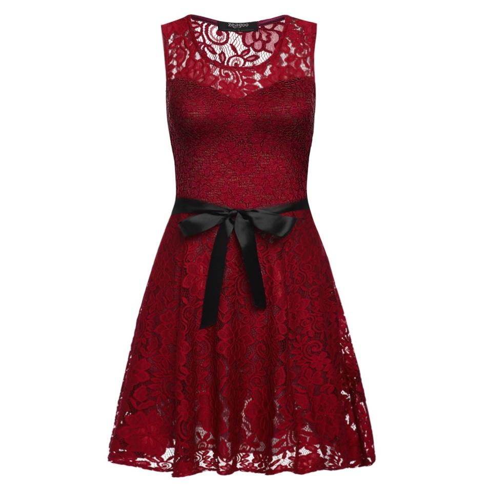 002 Dámské VINTAGE šaty červené celokrajkové (Velikost : M)