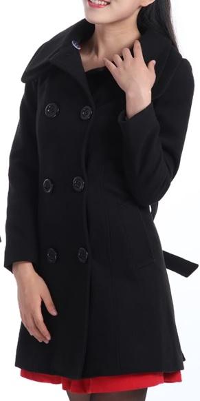 Dámský propínací dvouřadový kabát černý (Velikost : XXL)