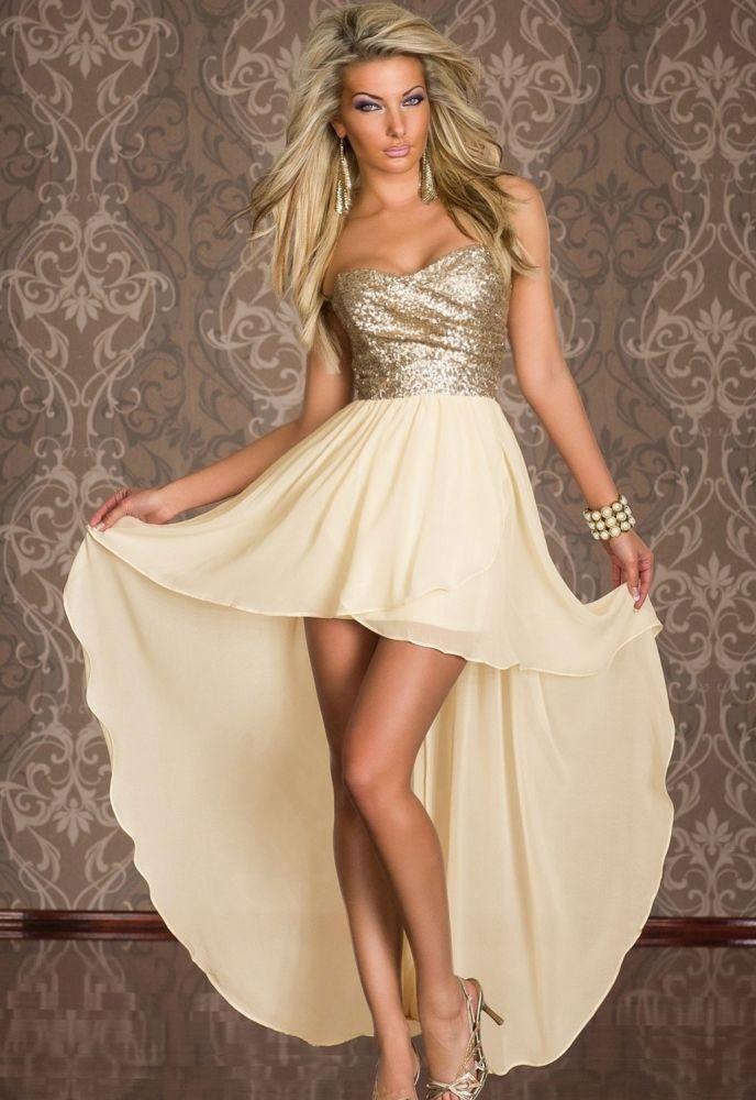 001 Společenské zlaté šaty asymetrické (Velikost : L)