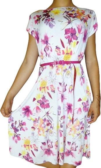 00* Luxusní květované šaty s páskem (Velikost : 42)