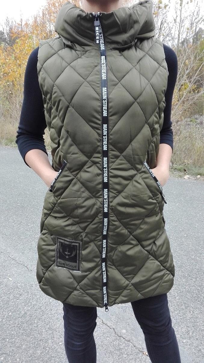 Dámská vesta zimní khaki dlouhá (Velikost : M/L)