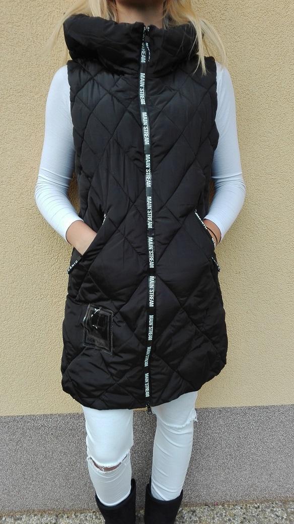Dámská vesta zimní černá dlouhá (Velikost : M)