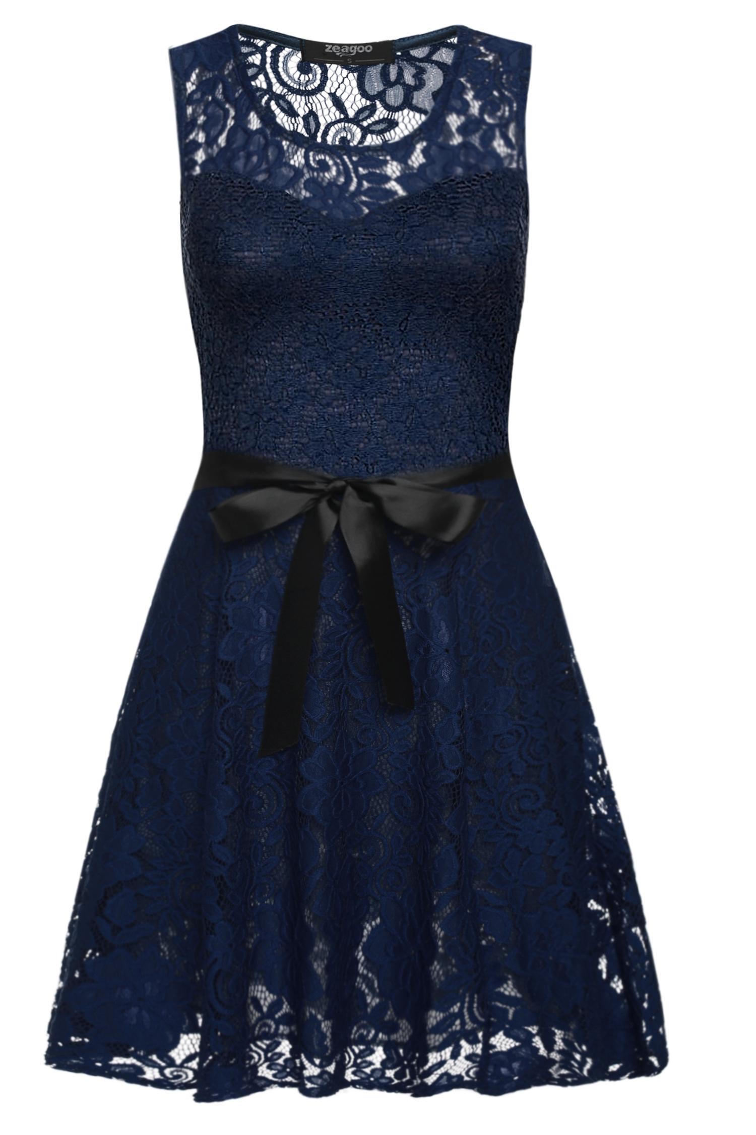 002 Dámské VINTAGE šaty modré celokrajkové (Velikost : M)