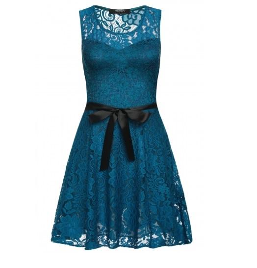 002 Dámské VINTAGE šaty zelené celokrajkové (Velikost : S)