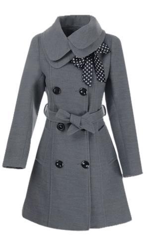 Dámský vlněný propínací dvouřadový kabát šedý (Velikost : M)