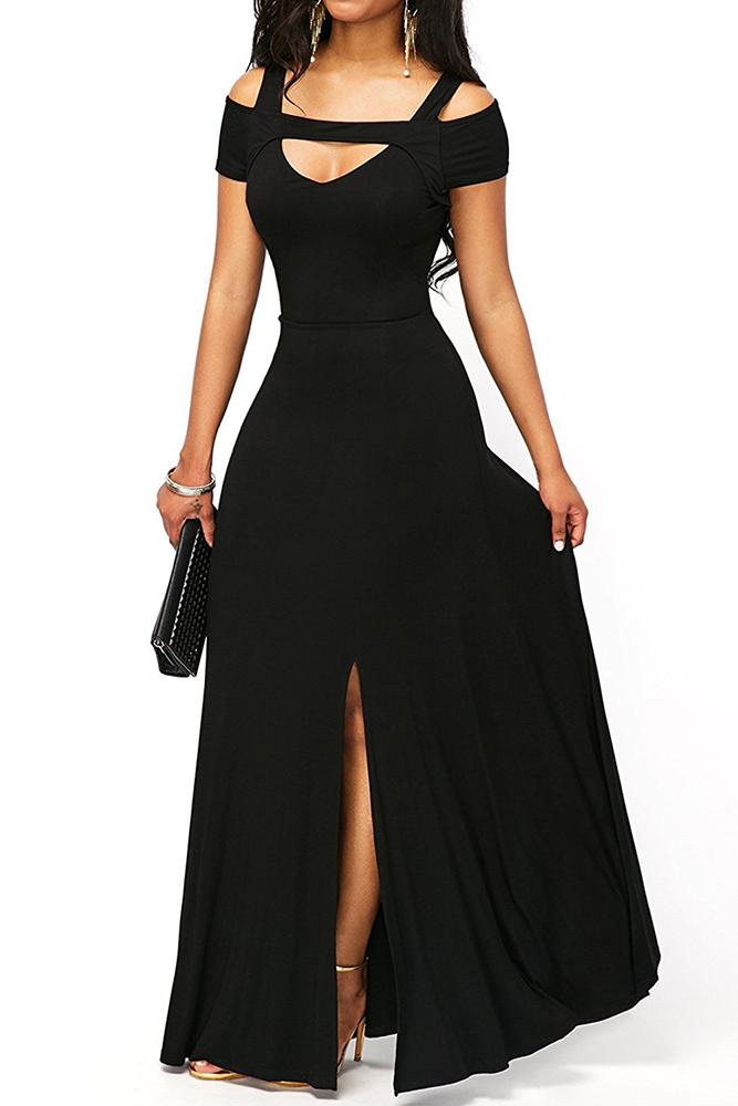 4e9ba5dd3272 02 Společenské šaty dlouhé s výstřihem a rozparkem černé