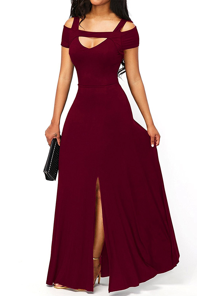 02 Společenské šaty dlouhé s výstřihem a rozparkem vínové  854e9f0f74