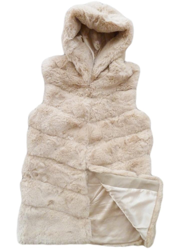Dámská luxusní vesta kožešinová s kapucí běžová empty 799e9297fa