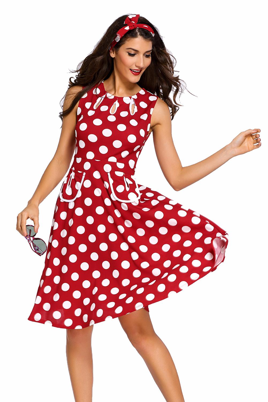 002 Společenské RETRO šaty červené s puntíky  c6fb1a8957