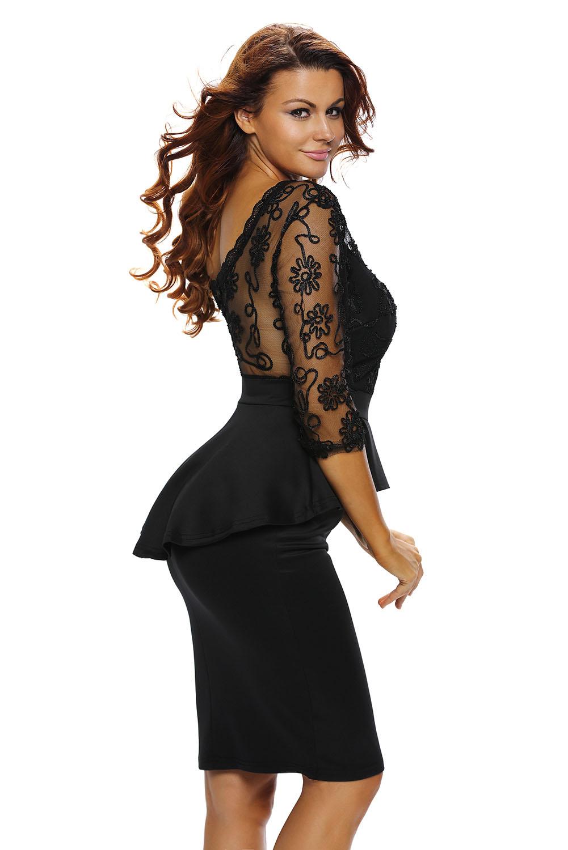 Dámské společenské šaty s 3 4 rukávem vyšívané černé  d655fd90b4