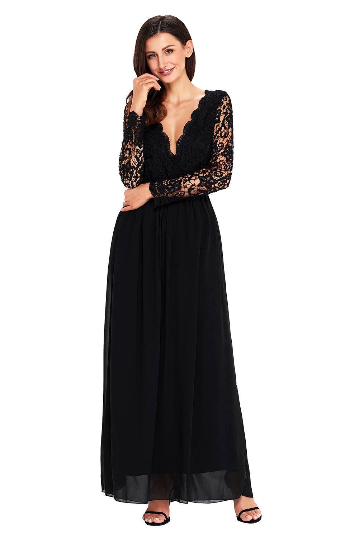 Společenské šaty dlouhé černé s krajkou a odhalenými zády  48f920367d