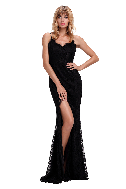 Společenské šaty na ramínka dlouhé černé krajkové  aacab7c1a0