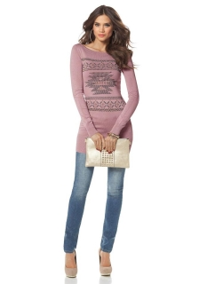 4c1fd533b78 Dámský pullover pletený růžový