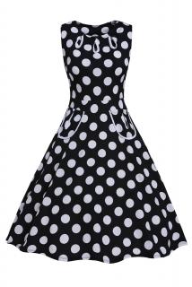 22fdf5c58ca2 002 Dámské RETRO šaty černé s puntíky