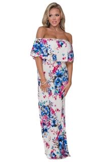 808edbfb01e4 02 Letní maxi šaty boho květované bílé