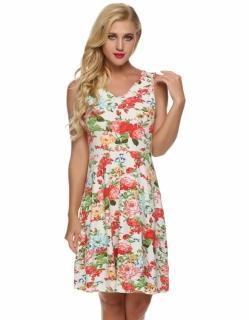 002 Dámské šaty květované bílé 91618c71df