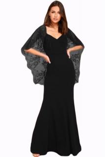 02 Společenské šaty dlouhé s krajkovými rukávy 8c81f29631