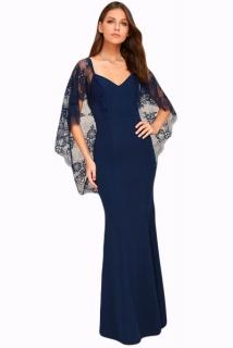 02 Společenské šaty dlouhé s krajkovými rukávy modré 4755a01a26c