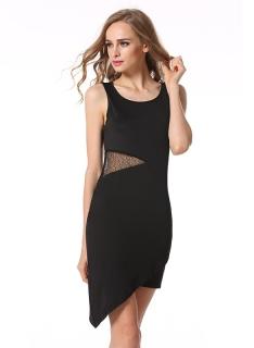 b09c9ddb1 Dámské šaty černé s krajkovými průstřihy