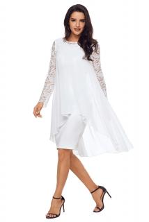 02 Společenské šaty bílé s krajkovými rukávy 6c3c8cdad5