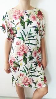 Letní šaty bílé s barevnými květy bc4f52c295
