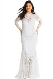 Společenské šaty pro plnoštíhlé krajkové bílé 71030f81ee