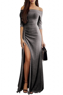 167c377a82a Dámské společenské šaty dlouhé metalcké černé