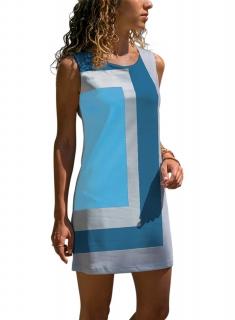 0c019d2025a2 Letní mini šaty geometrický vzor modré