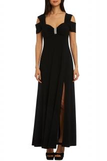 b143d427ddc6 Společenské šaty dlouhé černé s rozparkem