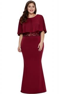 c0b46546cd73 Společenské šaty pro plnoštíhlé dlouhé červené Elen