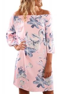 6b152c496025 Letní mini šaty růžové s květy