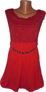 Plesové šaty s řetízkovým páskem červené ef7446410e
